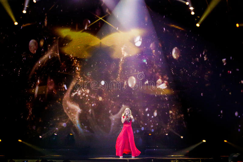Anja Nissen from Denmark Eurovision 2017. KYIV, UKRAINE - MAY 12, 2017: Anja Nissen from Denmark at the Grand Final rehearsal during Eurovision Song Contest, in royalty free stock image