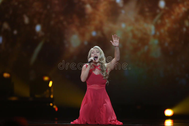 Anja Nissen from Denmark Eurovision 2017. KYIV, UKRAINE - MAY 10, 2017: Anja Nissen from Denmark at the second semi-final rehearsal during Eurovision Song stock photo
