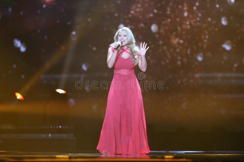 Anja Nissen from Denmark Eurovision 2017. KYIV, UKRAINE - MAY 10, 2017: Anja Nissen from Denmark at the second semi-final rehearsal during Eurovision Song royalty free stock photo