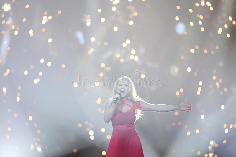 Anja Nissen from Denmark Eurovision 2017. KYIV, UKRAINE - MAY 10, 2017: Anja Nissen from Denmark at the second semi-final rehearsal during Eurovision Song royalty free stock image