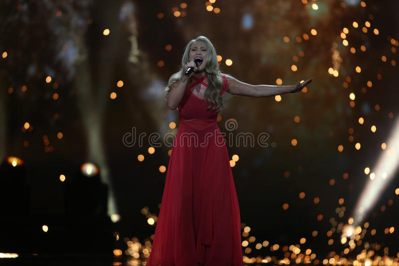 Anja Nissen from Denmark Eurovision 2017. KYIV, UKRAINE - MAY 10, 2017: Anja Nissen from Denmark at the second semi-final rehearsal during Eurovision Song stock photos
