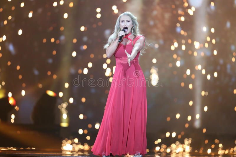 Anja Nissen from Denmark Eurovision 2017. KYIV, UKRAINE - MAY 10, 2017: Anja Nissen from Denmark at the second semi-final rehearsal during Eurovision Song royalty free stock photography