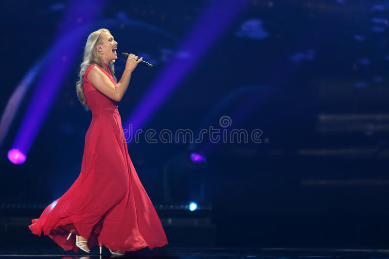 Anja Nissen from Denmark Eurovision 2017. KYIV, UKRAINE - MAY 10, 2017: Anja Nissen from Denmark at the second semi-final rehearsal during Eurovision Song royalty free stock images