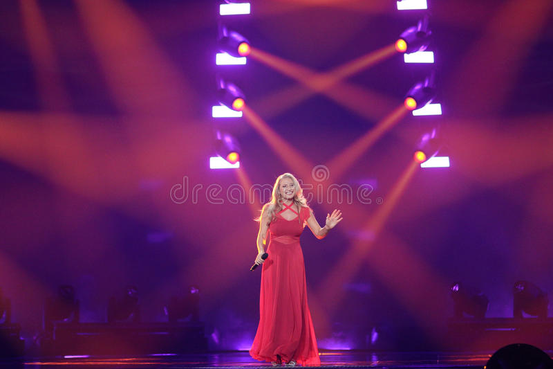 Anja Nissen from Denmark Eurovision 2017. KYIV, UKRAINE - MAY 10, 2017: Anja Nissen from Denmark at the second semi-final rehearsal during Eurovision Song stock image