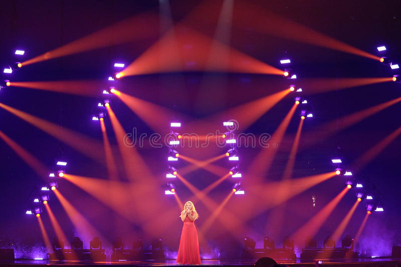 Anja Nissen from Denmark Eurovision 2017. KYIV, UKRAINE - MAY 10, 2017: Anja Nissen from Denmark at the second semi-final rehearsal during Eurovision Song royalty free stock photos