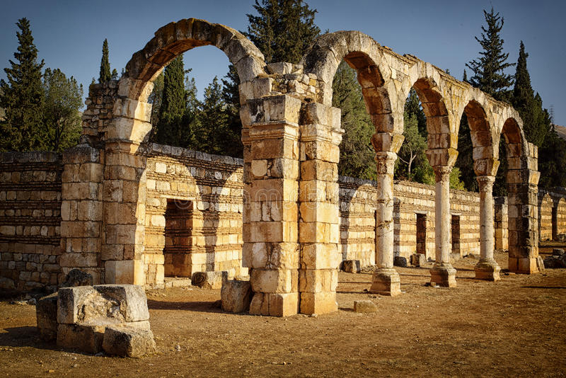 Anjar. Ruins of Anjar: A stronghold built by the Ummayads. World heritage site in Lebanoon stock images