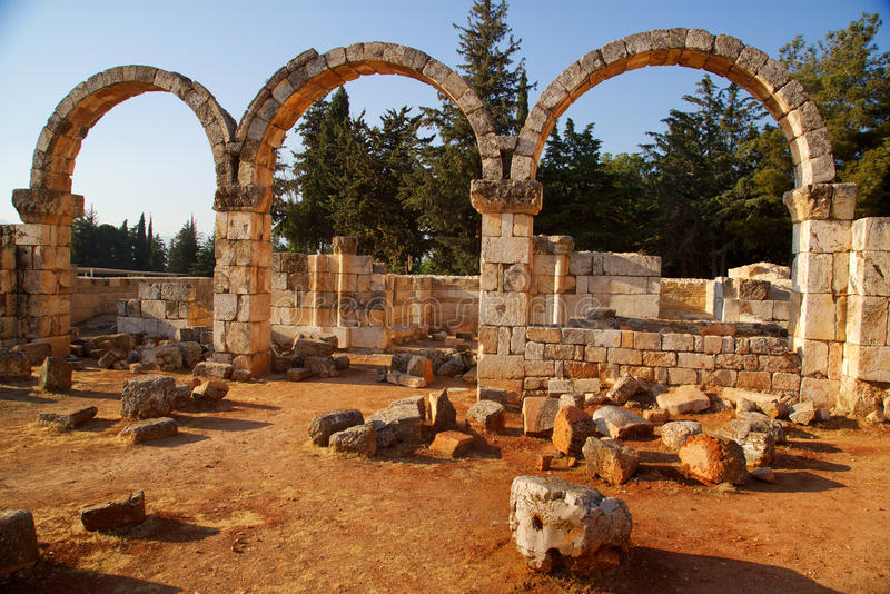 Anjar. Ruins of Anjar: A stronghold built by the Ummayads. World heritage site in Lebanoon stock photography