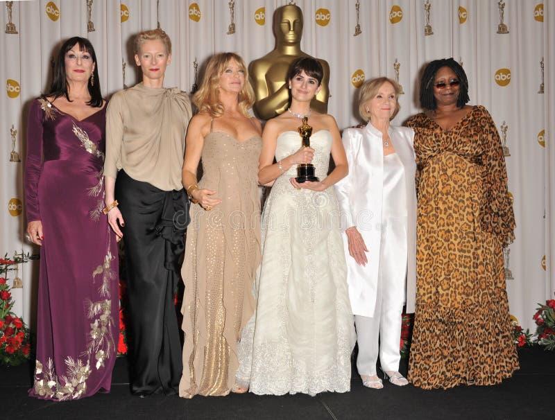 Anjelica Huston, Heiliges Eva-Marie, Goldie Hawn, Penelope Cruz, Tilda Swinton, Whoopi Goldberg lizenzfreies stockbild