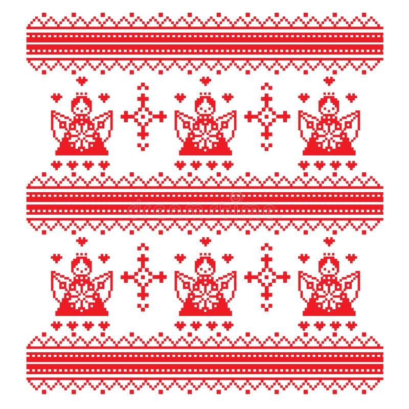 Anjo étnico do ornamento do ponto de cruz e ornamento decorativos na ilustração branca vermelha do vetor ilustração royalty free