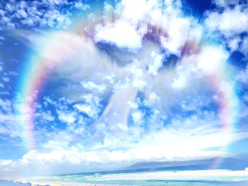 Anjo arco-íris sobre o mar foto de stock royalty free