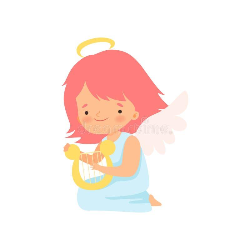 Anjo bonito da menina com o Nimbus e as asas que jogam a harpa, o personagem de banda desenhada bonito do bebê no cupido ou o vet ilustração do vetor