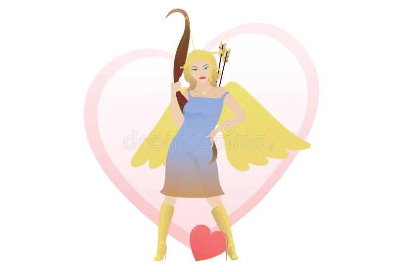 Anjo bonito do Cupid que prende uma curva, com backgro do coração ilustração stock