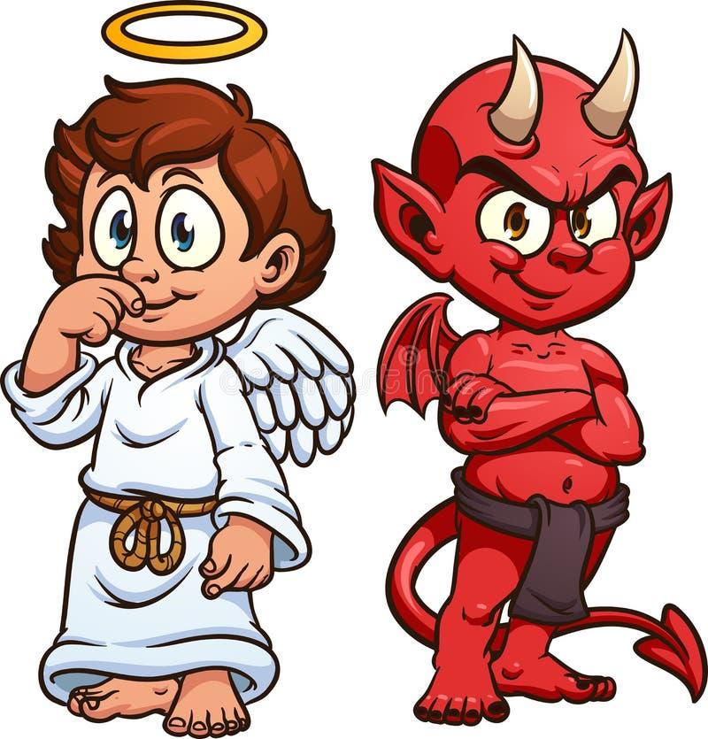 Anjo bonito e diabo dos desenhos animados ilustração royalty free