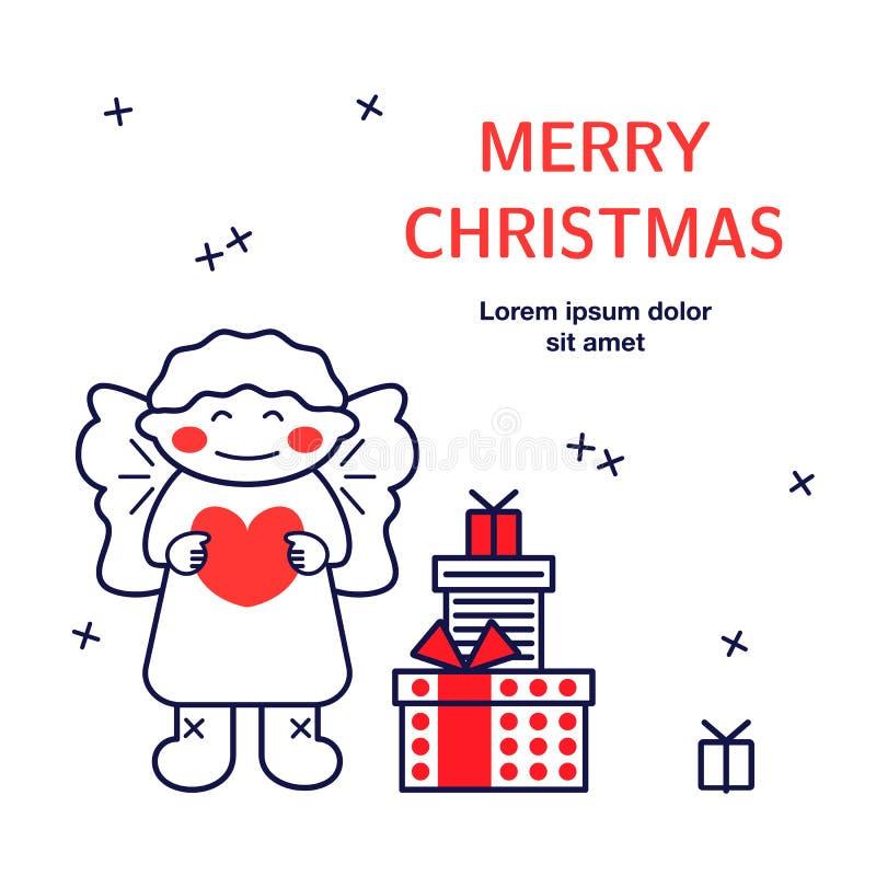 Anjo bonito, presentes com texto Cartão para a festa de Natal ilustração royalty free