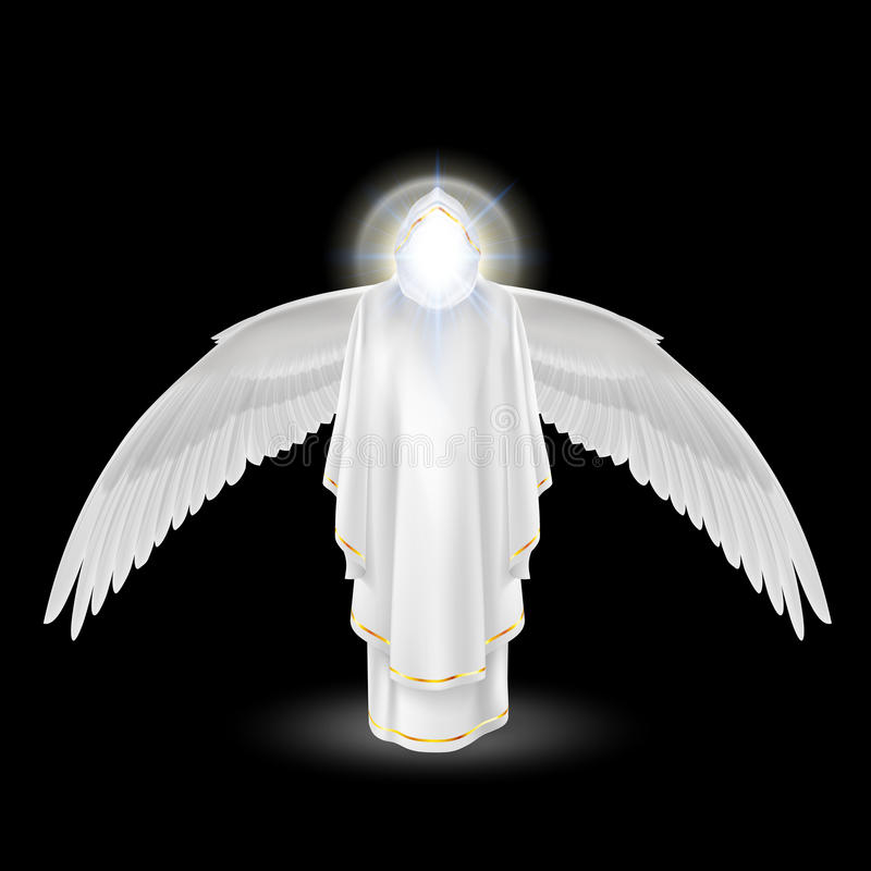 Anjo branco no preto ilustração royalty free