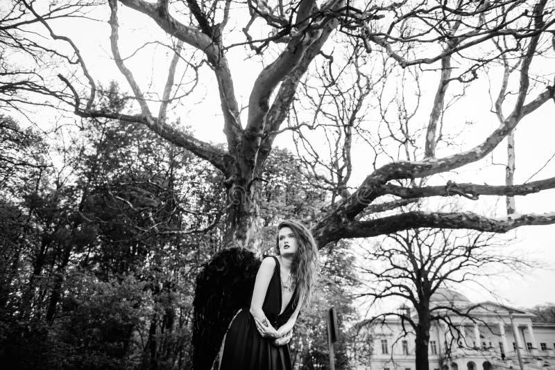 Anjo caído com asas pretas imagem de stock royalty free