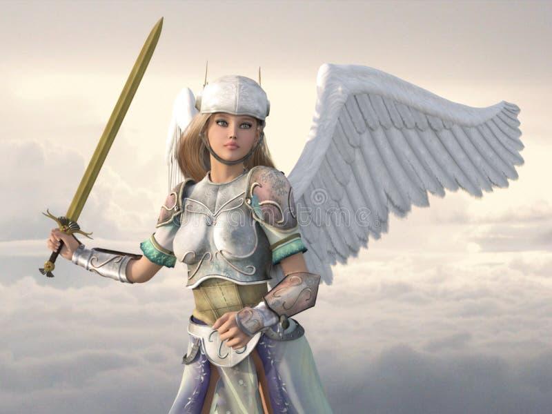 Anjo celestial com espada imagens de stock royalty free