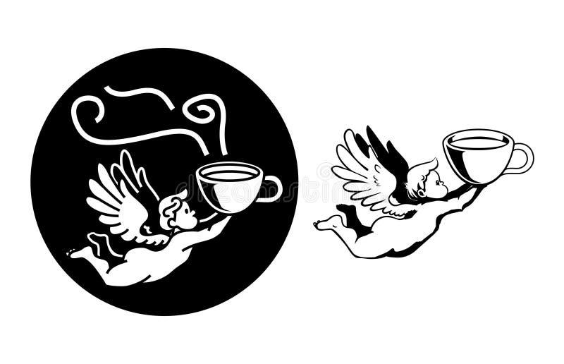 Anjo Chubby que voa rapidamente com caneca de café ilustração royalty free