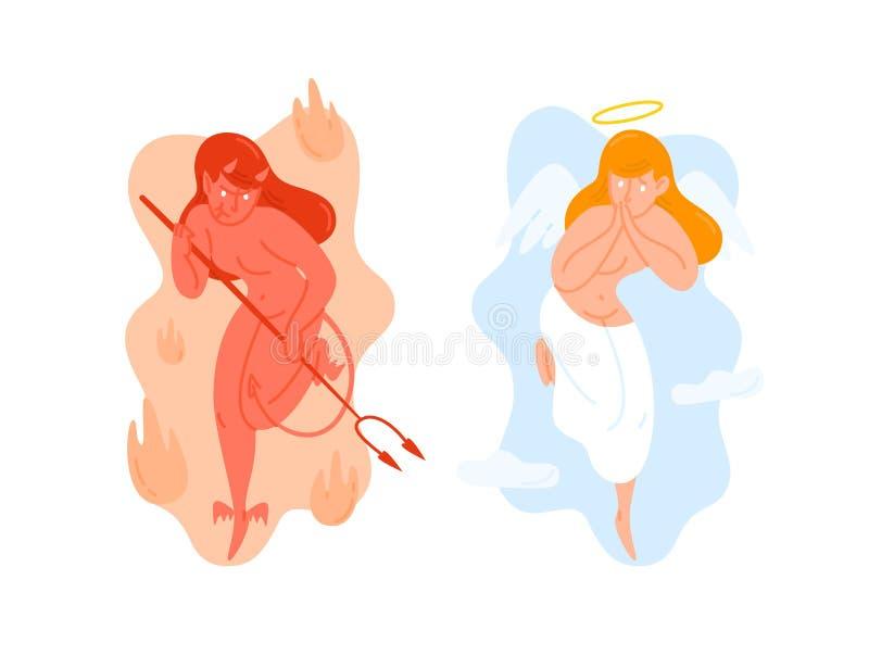 Anjo com as asas e o diabo que guardam o forcado Deus e Satã Criaturas do céu e do inferno Desenhos animados da fêmea dos bens e  ilustração royalty free