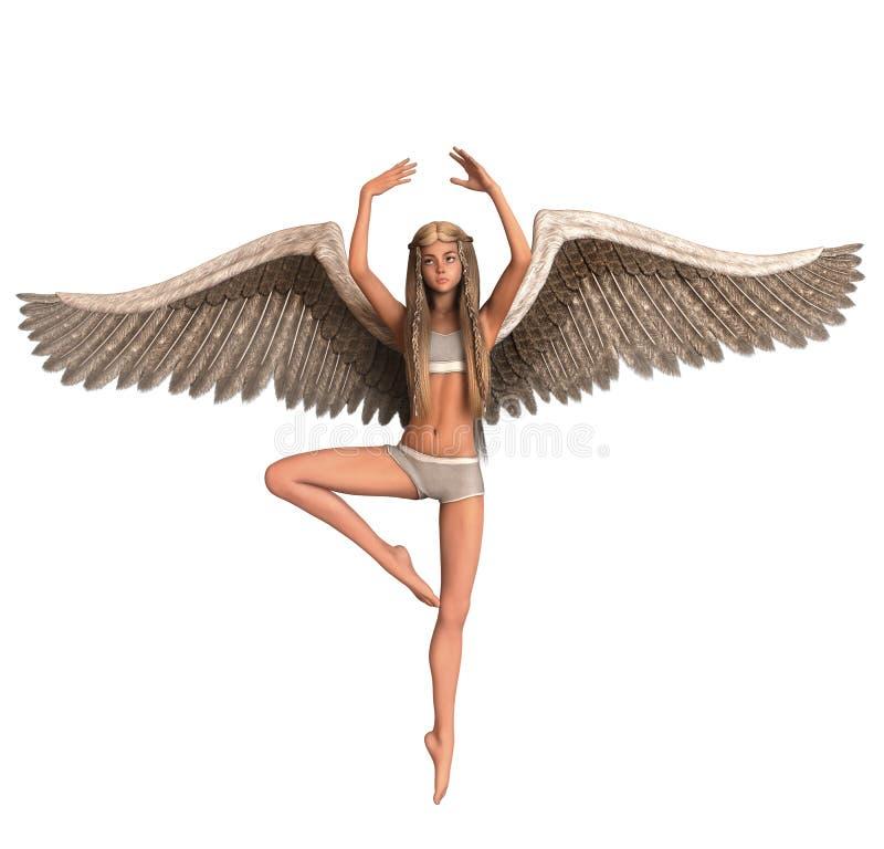 Anjo com as asas na pose do bailado ilustração stock