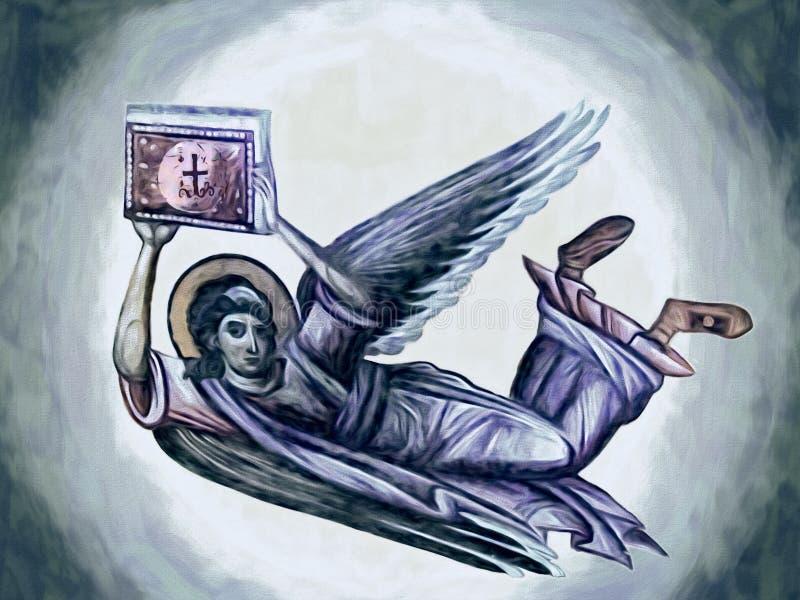 Anjo com a Bíblia Pintura a óleo ilustração royalty free