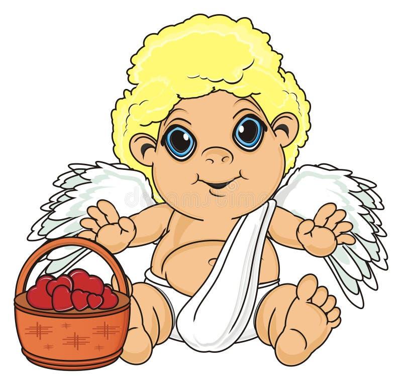 Anjo com a cesta dos corações ilustração royalty free