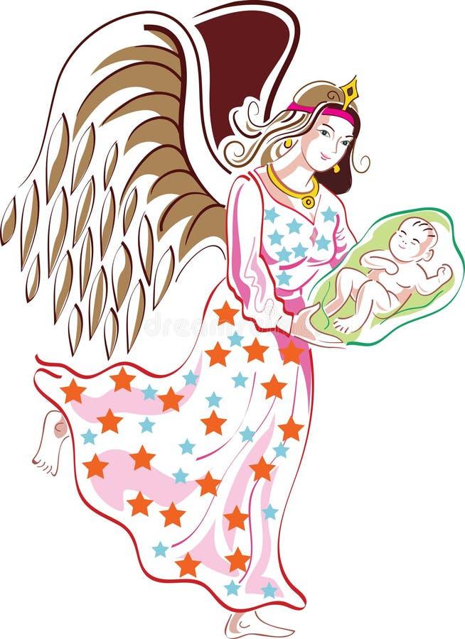 Anjo com criança ilustração do vetor