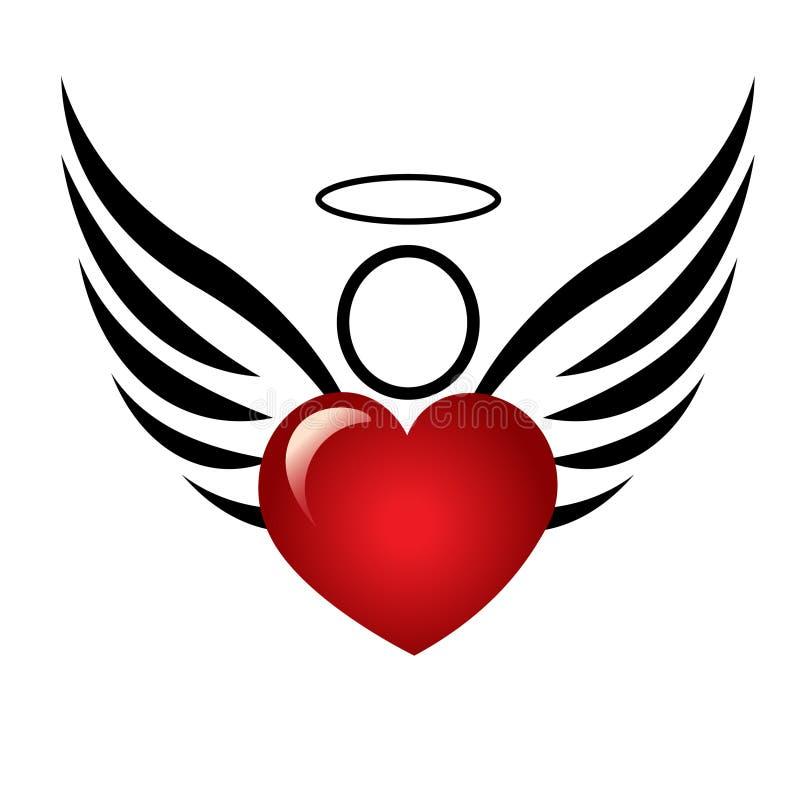 Anjo com logotipo do coração ilustração do vetor
