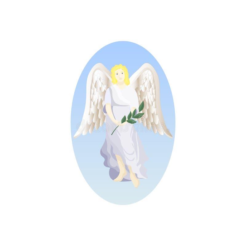 Anjo com ramo da palma ilustração stock