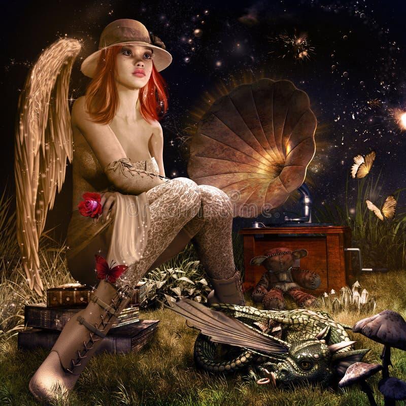 Anjo com rosa do vermelho ilustração stock