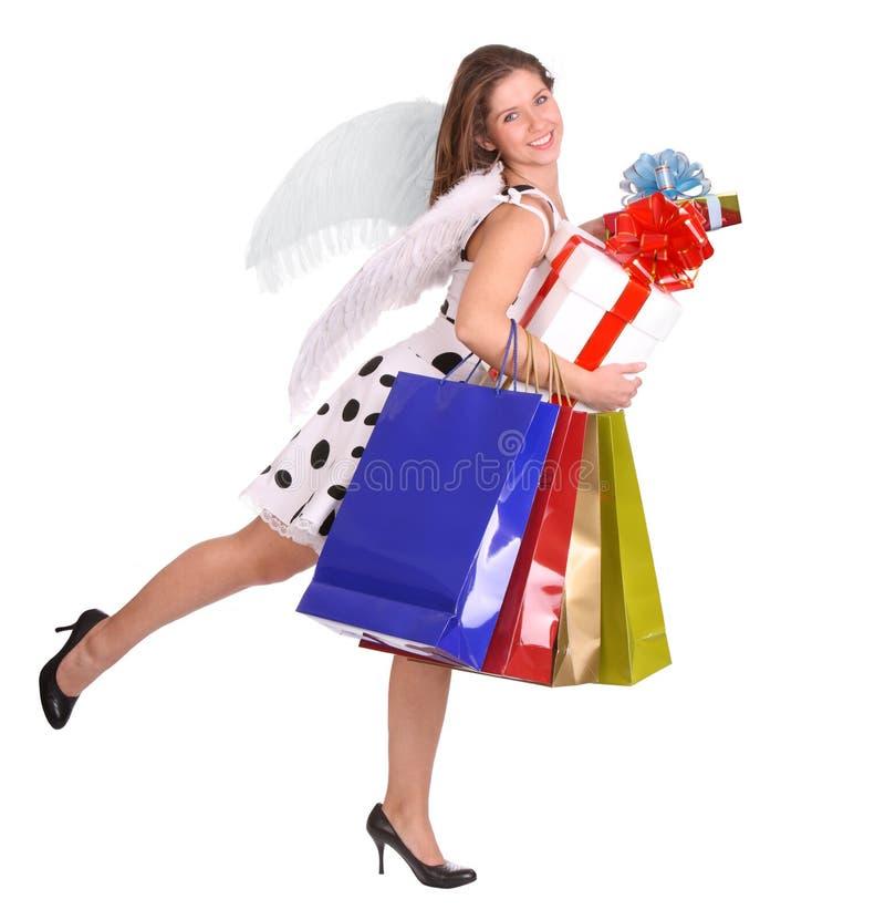 Anjo com saco e caixa do presente. fotografia de stock royalty free