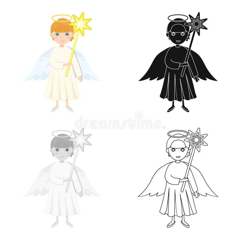 Anjo com um único ícone da estrela nos desenhos animados, preto, estilo liso, monocromático para o projeto Estoque do símbolo do  ilustração do vetor