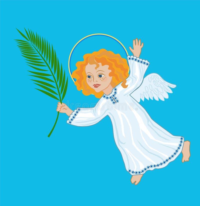 Anjo com um ramo da palma ilustração royalty free