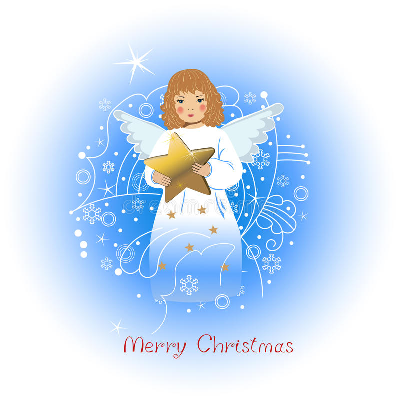 Anjo com uma estrela ilustração royalty free