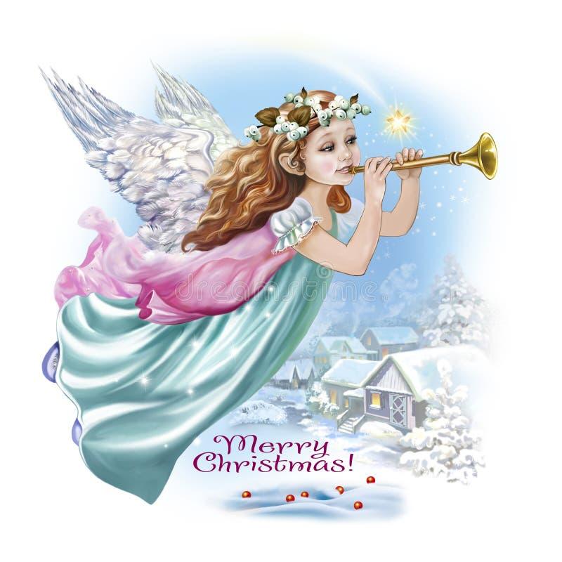 Anjo com uma trombeta no céu ilustração do vetor