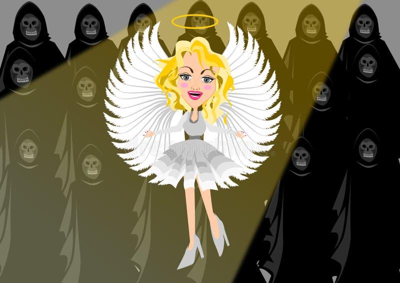 Anjo contra a escuridão ilustração do vetor