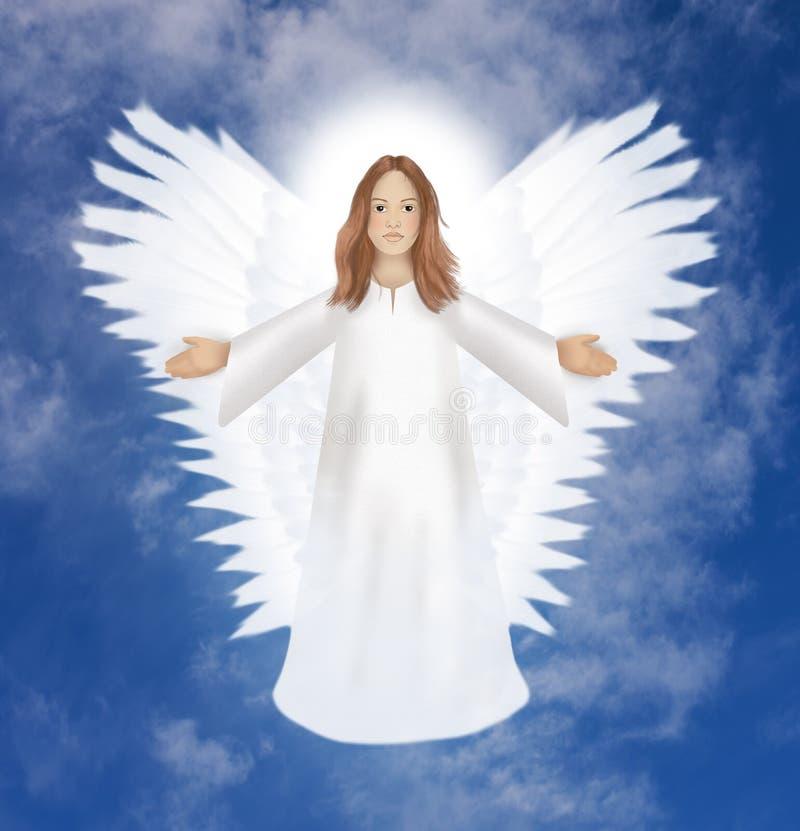 Anjo da guarda brilhante no céu ilustração stock