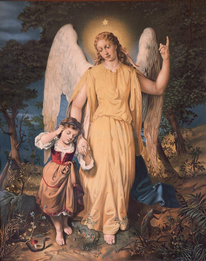 Anjo-da-guarda com a criança. fotos de stock