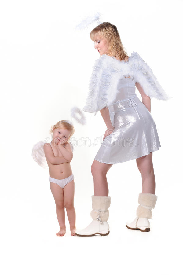 Anjo da menina do anjo e da mulher adulta fotografia de stock royalty free