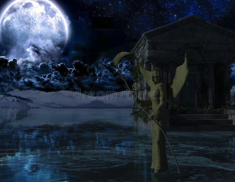 Anjo da morte - fundo assustador da noite com lua ilustração do vetor