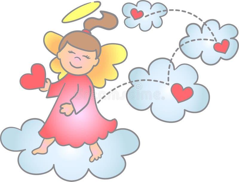 Anjo de espalhamento do amor & da alegria/eps ilustração do vetor