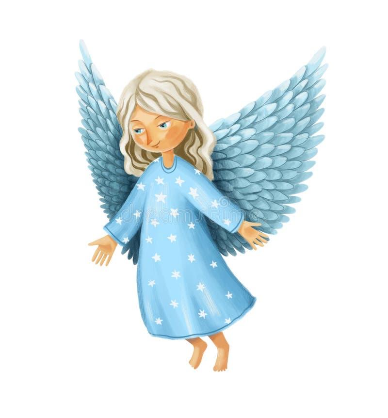 Anjo de sorriso com o desenho estendido das asas e dos braços ilustração royalty free