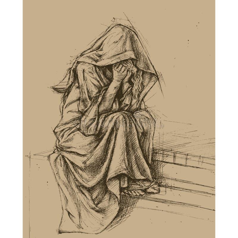 Anjo do cemitério ilustração do vetor