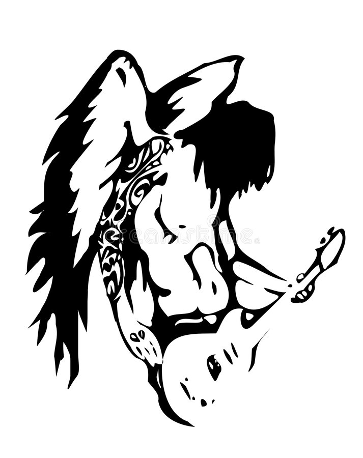 Anjo do hard rock do vetor ilustração do vetor