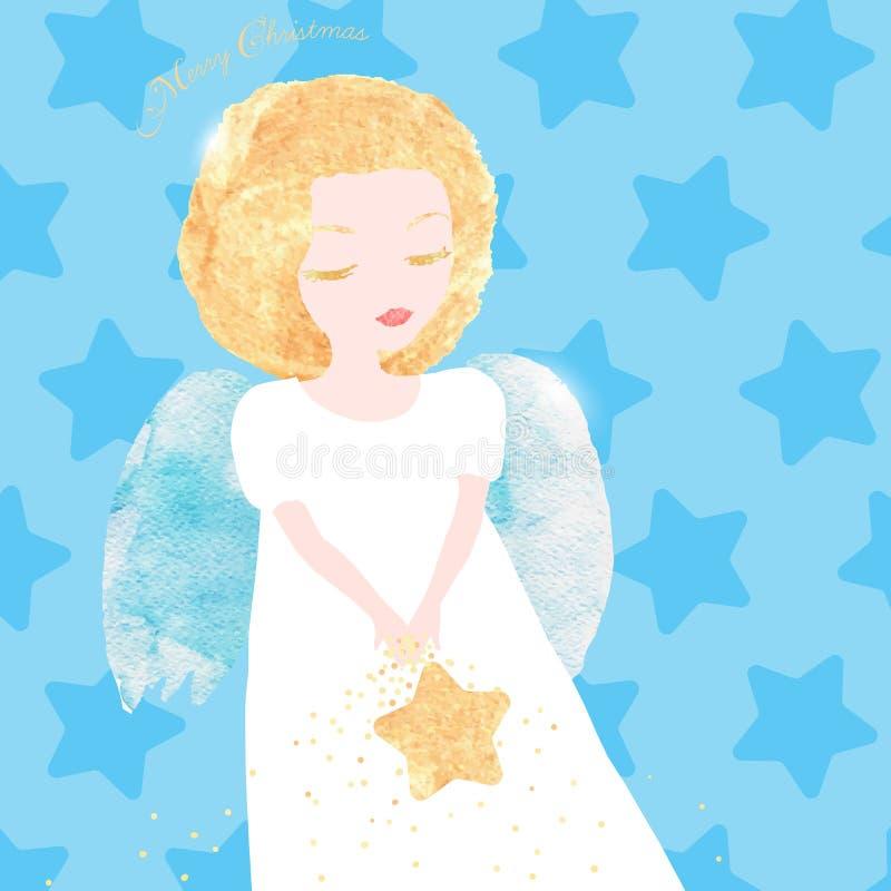 Anjo do Natal com cabelo dourado ilustração stock