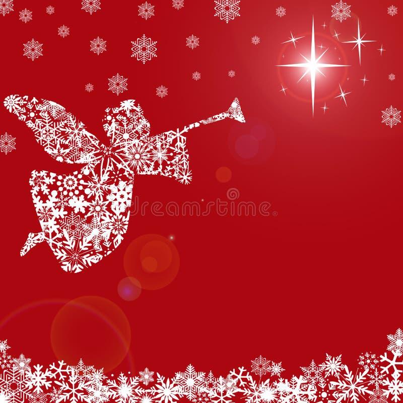 Anjo do Natal com trombeta e flocos de neve ilustração stock