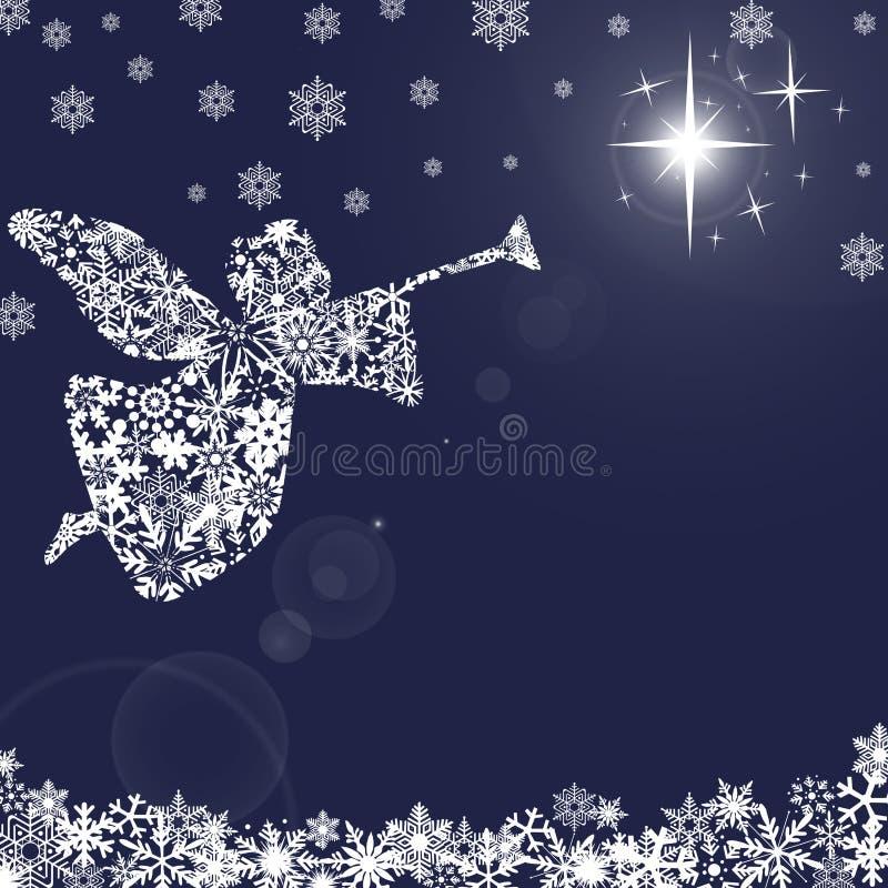 Anjo do Natal com trombeta e flocos de neve 2 ilustração royalty free