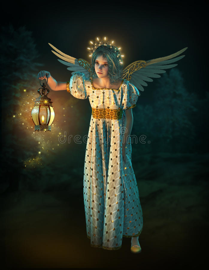 Anjo do Natal, 3d CG ilustração stock