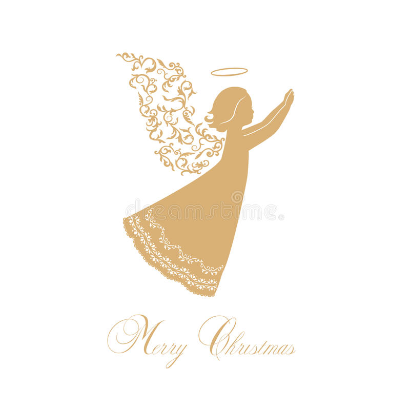 Anjo do vetor com asas florais e Nimbus ilustração stock