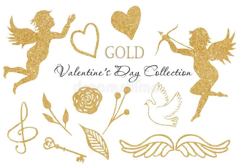 Anjo dourado da aquarela, coração, pomba, asas, clave de sol, chave dourada ilustração royalty free